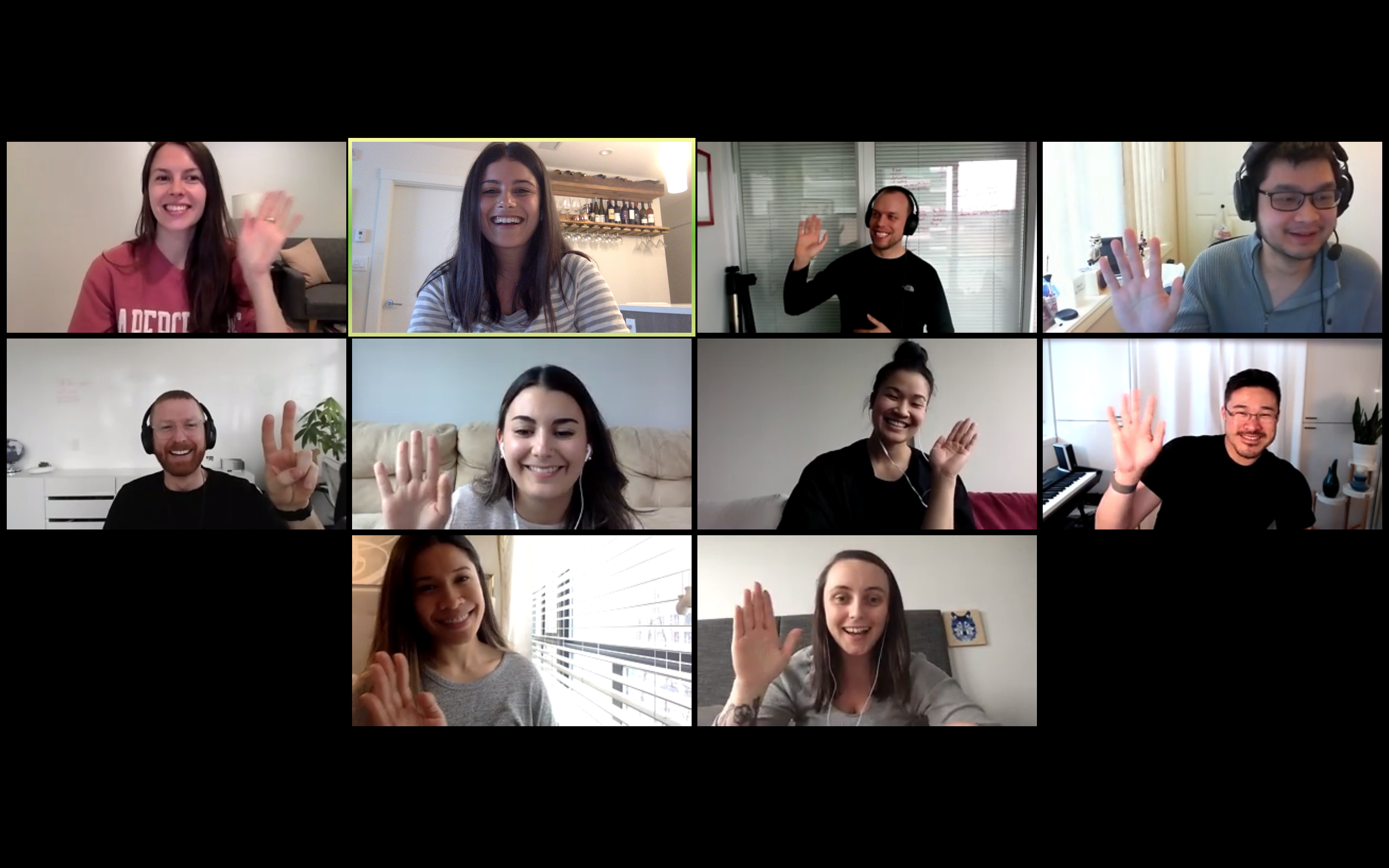 group of briteweb staff meeting on video conference