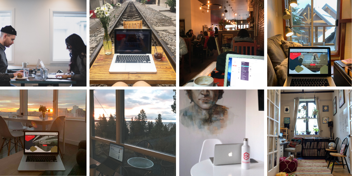 collage of laptops in different locations